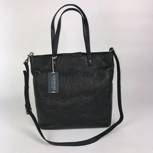 American Leather Co Black Floral Embossed Tote
